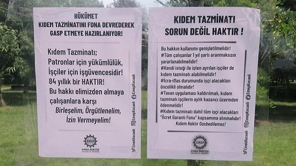 Photo of EMEP: 'Kıdem tazminatının gasbına karşı birlikte mücadele edelim'