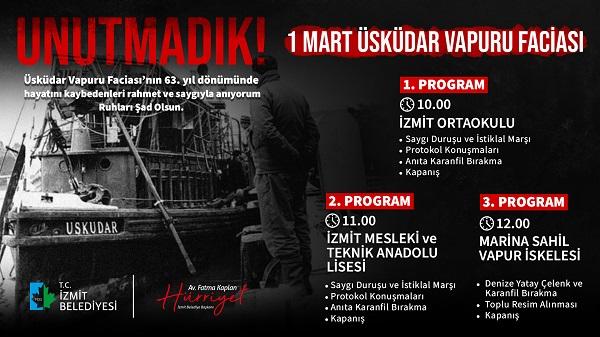 Photo of İzmit Belediyesi Üsküdar Vapuru faciasında yitirdiklerimizi anacak